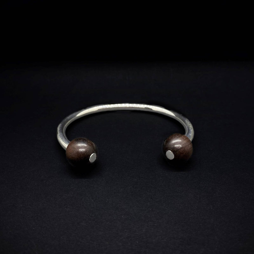 Double Wooden Bead Classic Silver Torque Bangle Small - Unisex - Silverwood Jewellery