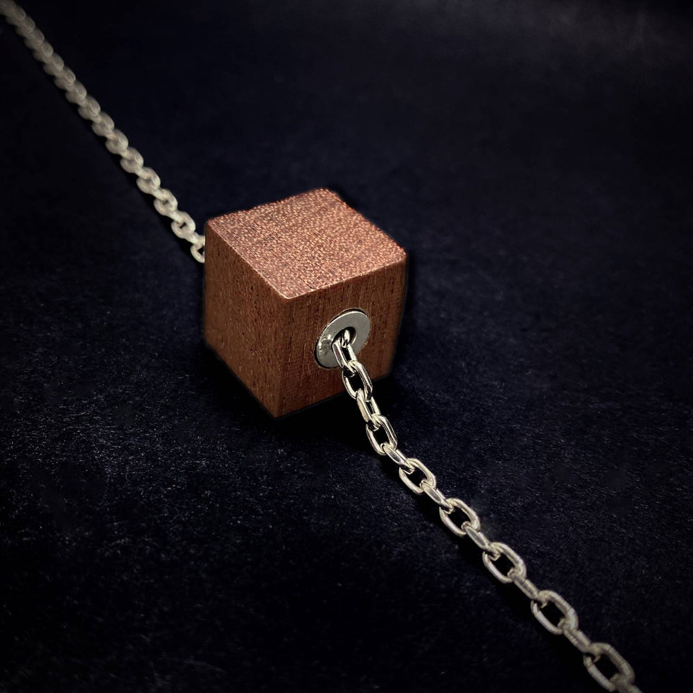 Wood and Silver Cube Pendant and Silver Chain Mens Necklace - Silverwood Jewellery