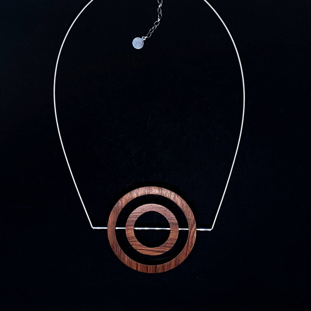 Iris buginga wood Concentric Circle and sterling silver Tube and cable chain  Necklace with extension chain by Silverwood Jewellery