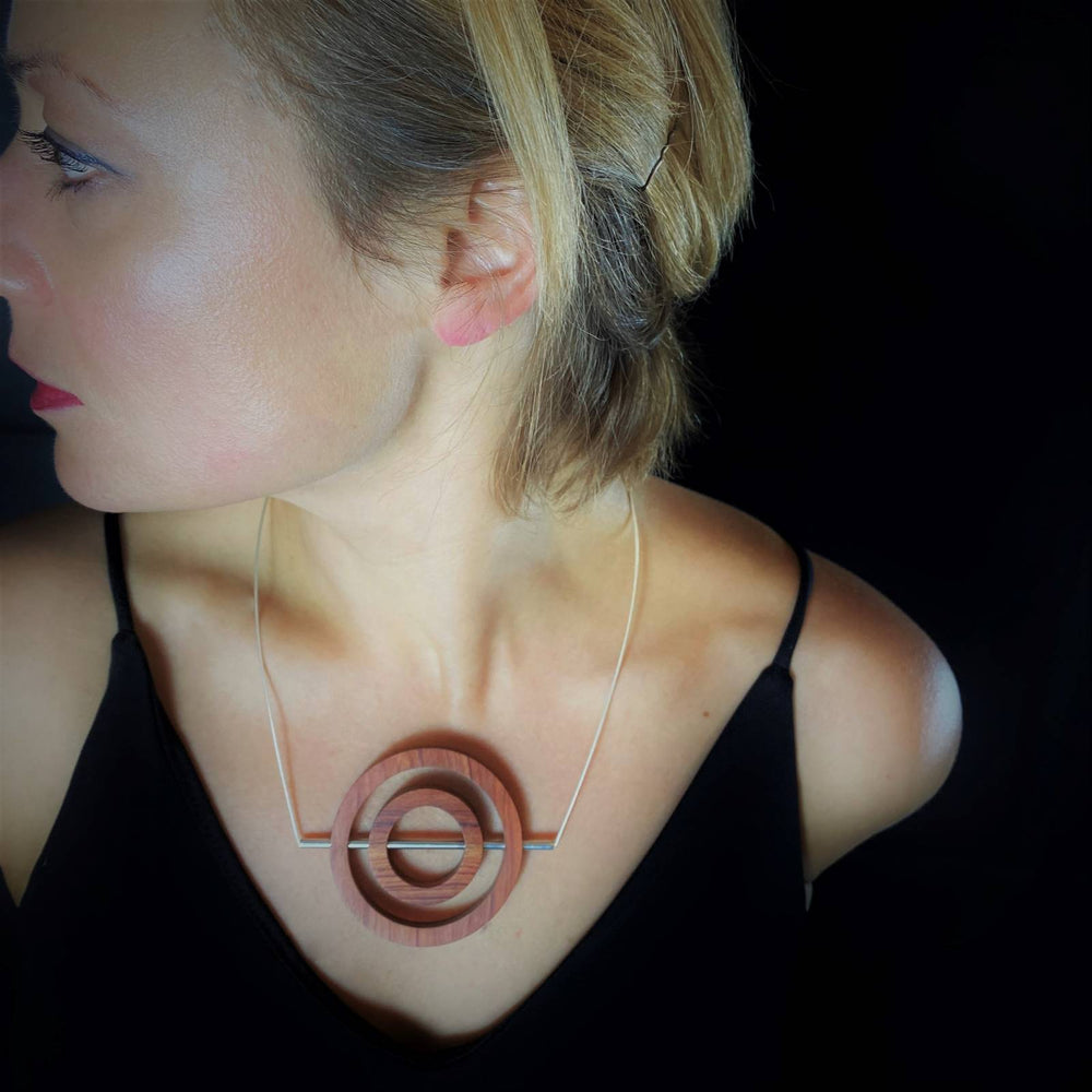 Iris Concentric Circle and Tube Necklace