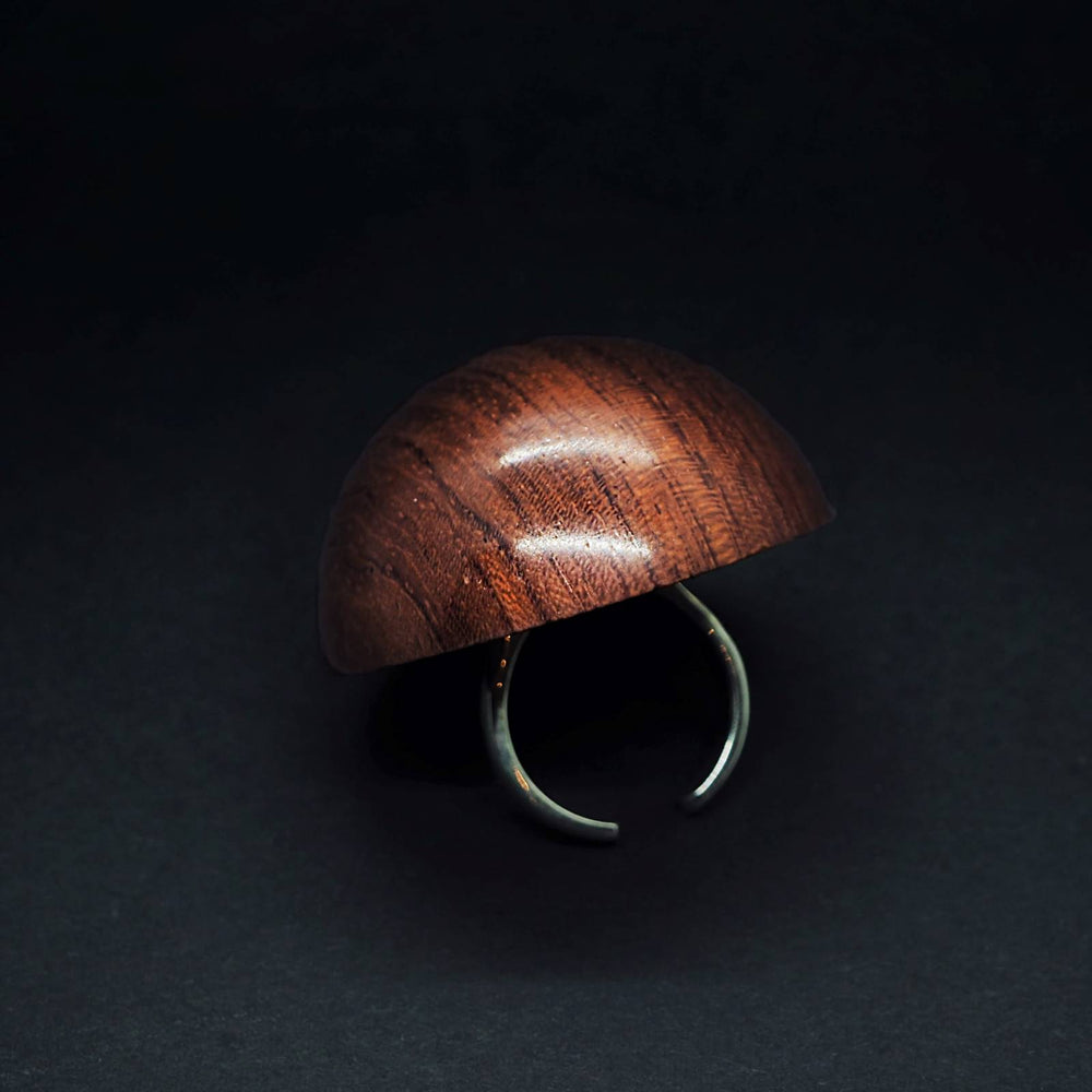 Giant Wooden Demi Sphere Flexible Silver Ring