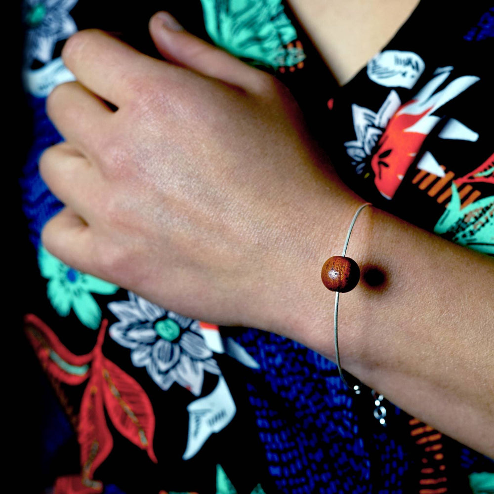 Small Wooden Bead on Silver Cable Bracelet Unisex - Silverwood Jewellery