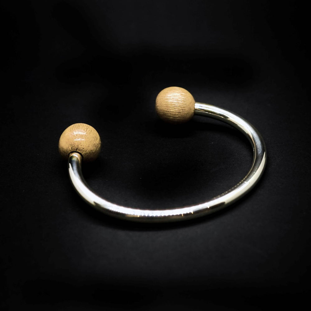 Double Wooden Bead Classic Silver Torque Bangle Small - Unisex