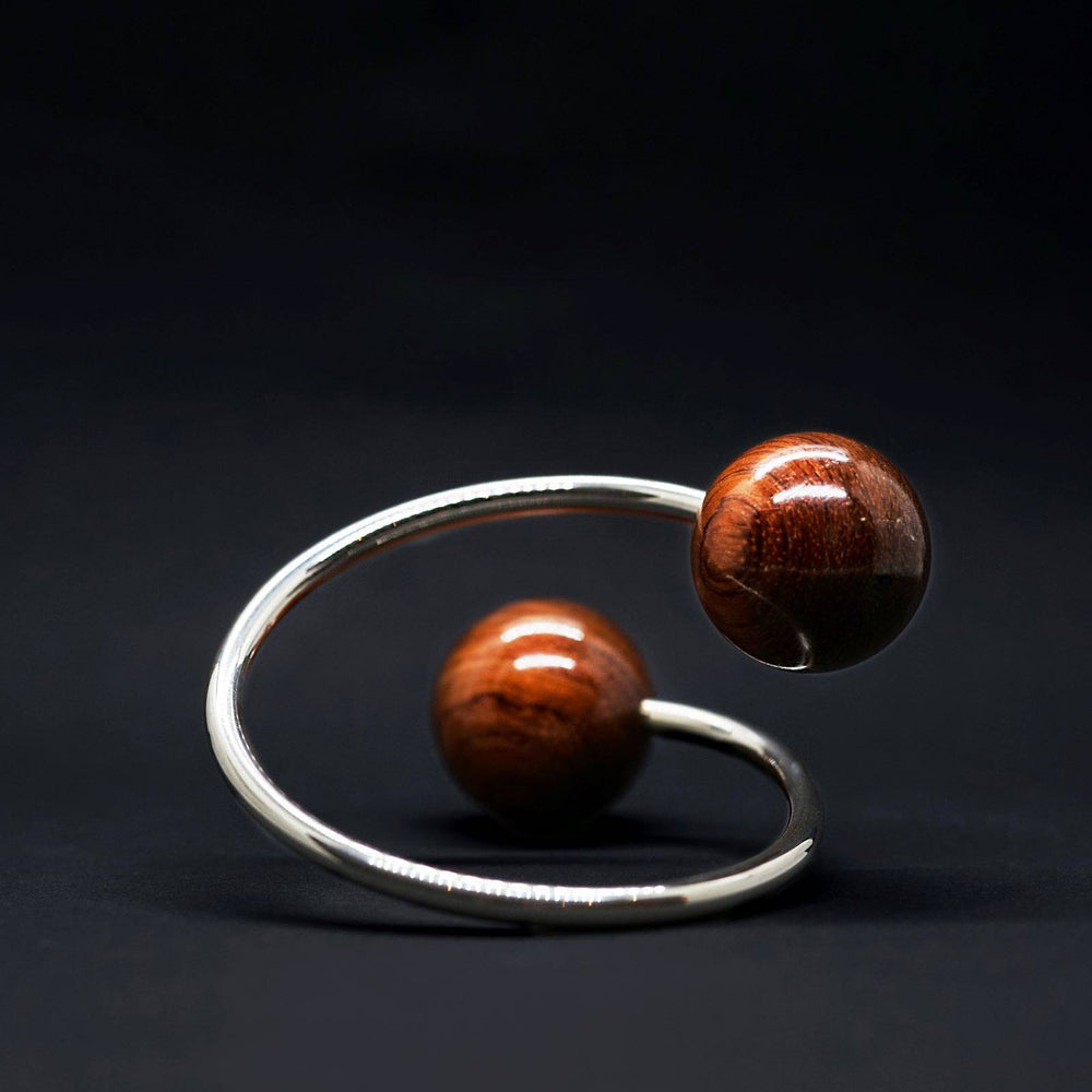 Large Doube Wooden Spheres and Silver Twist Torque Bangle - Silverwood Jewellery