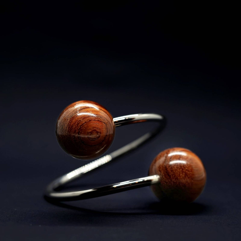 Large Doube Wooden Spheres and Silver Twist Torque Bangle