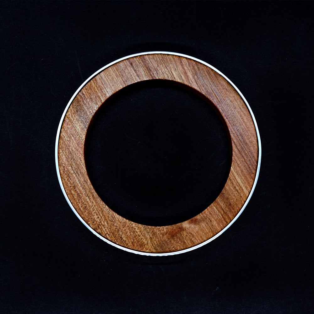 top view of the handmade red wood and sterling silver bangle by Silverwood Jewellery