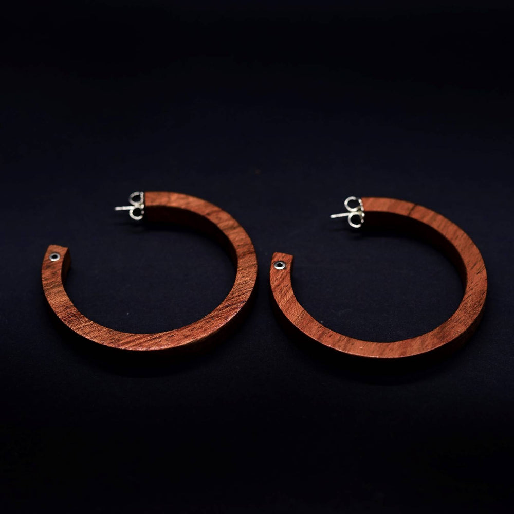 Giant Wooden Circle with Silver Detailing Hoop Earrings - Silverwood Jewellery