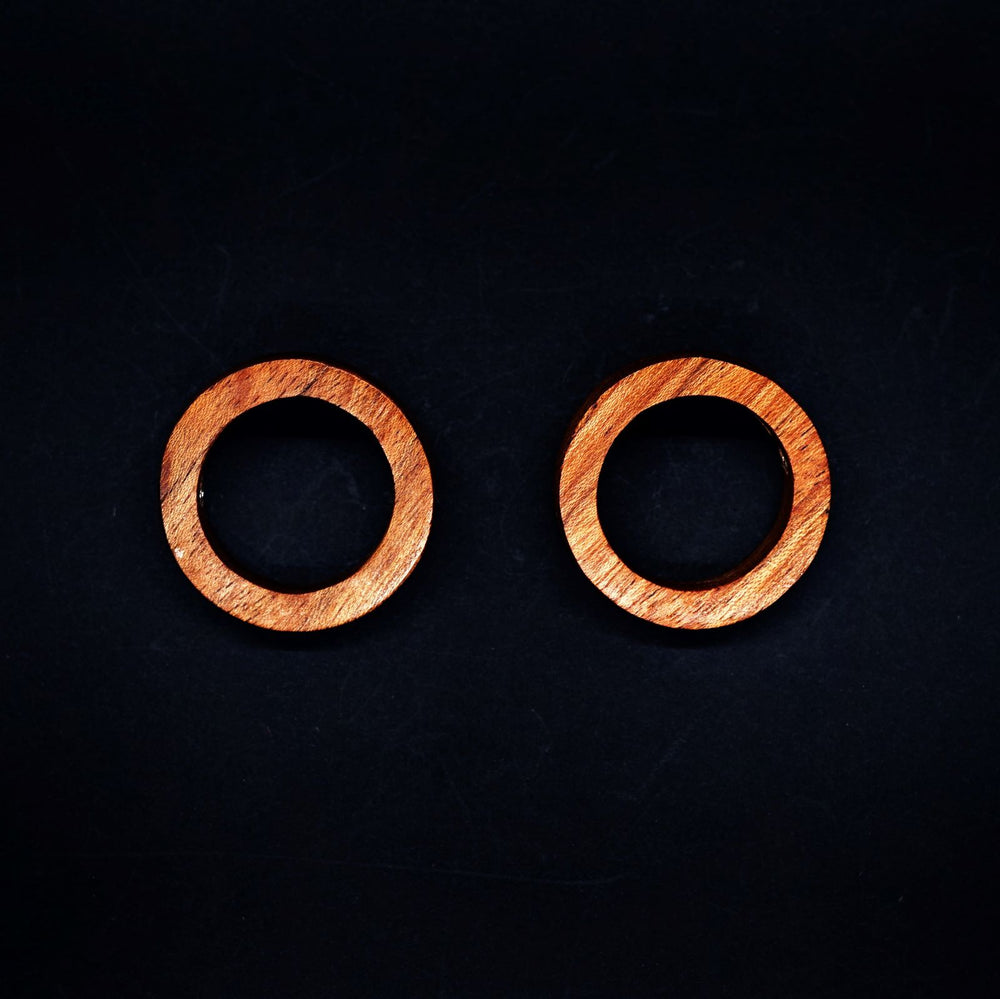 Small Wooden Circle with Silver Detailing Hoop Earrings - Silverwood Jewellery