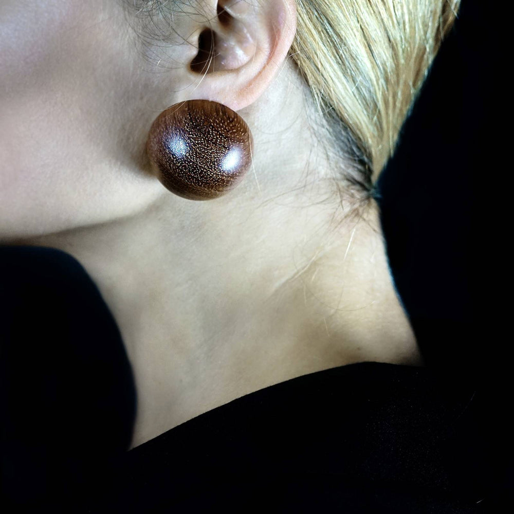 Giant Wooden Demi Sphere Stud Earrings
