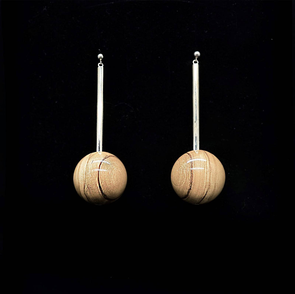 Large Wooden Bead and Silver Tube Long Earrings