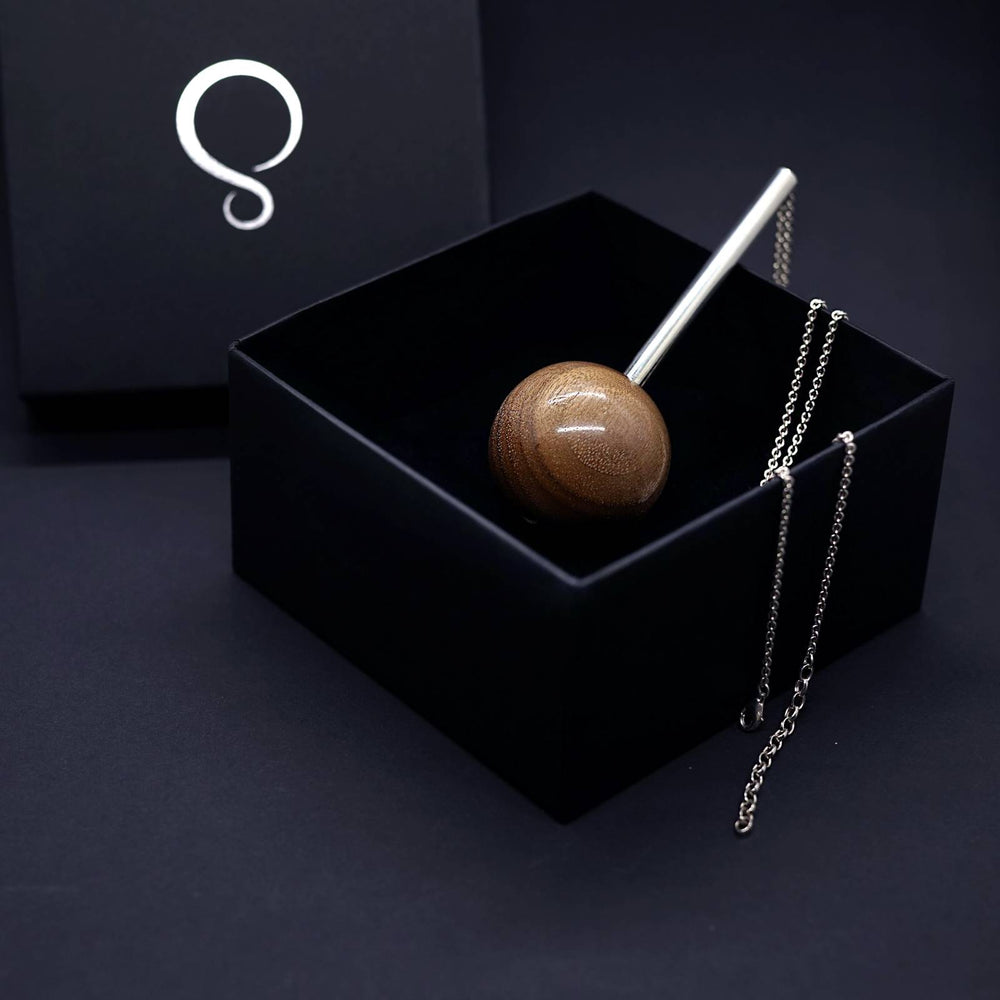 Large 40mm Wooden Sphere and Silver Tube Pendant Long Silver Necklace - Silverwood Jewellery