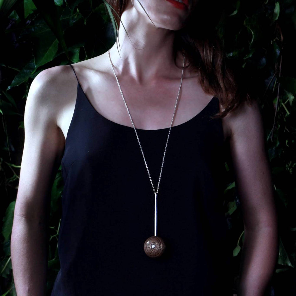 Gaia Large Sphere & Silver Tube  Necklace - Long - Silverwood Jewellery
