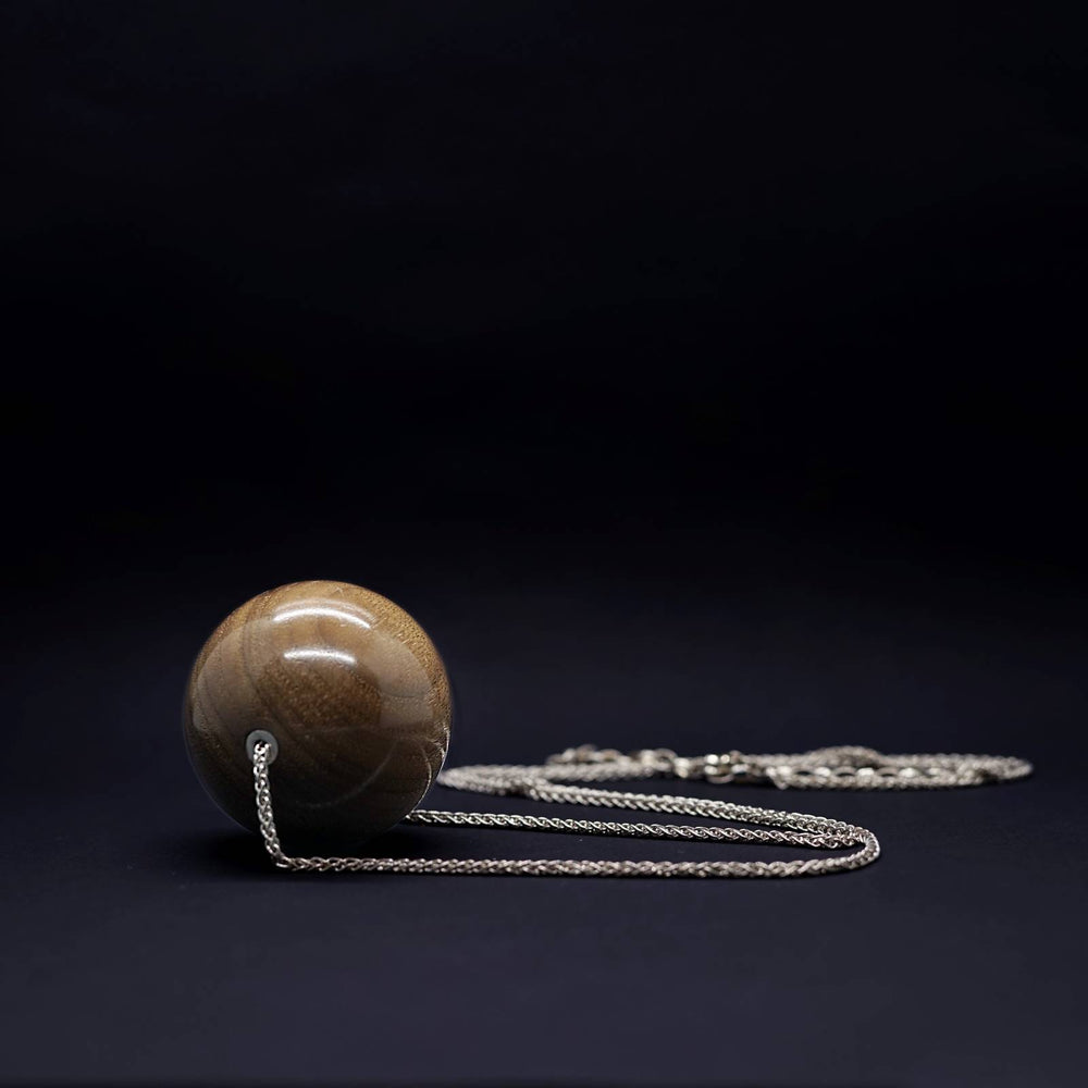 Giant 50mm Wooden Bead Pendant on Long Silver Necklace - Silverwood Jewellery