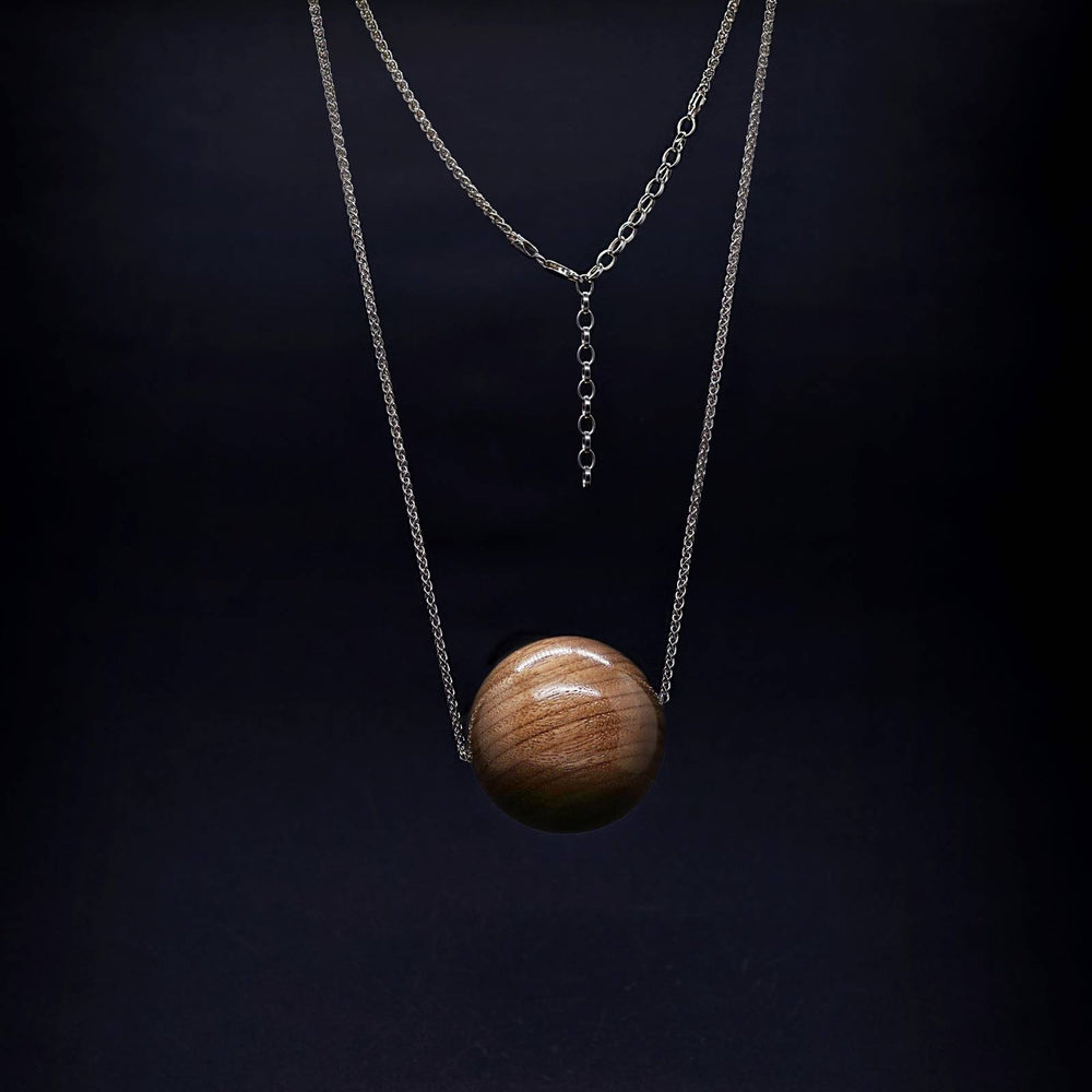 Giant 50mm Wooden Bead Pendant on Long Silver Necklace