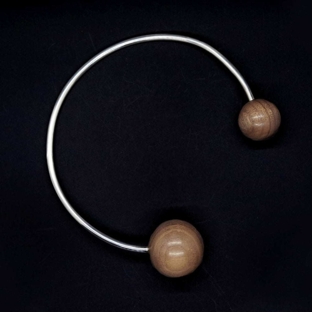 Large Double Wooden Sphere Torque Collar Necklace - Silverwood Jewellery