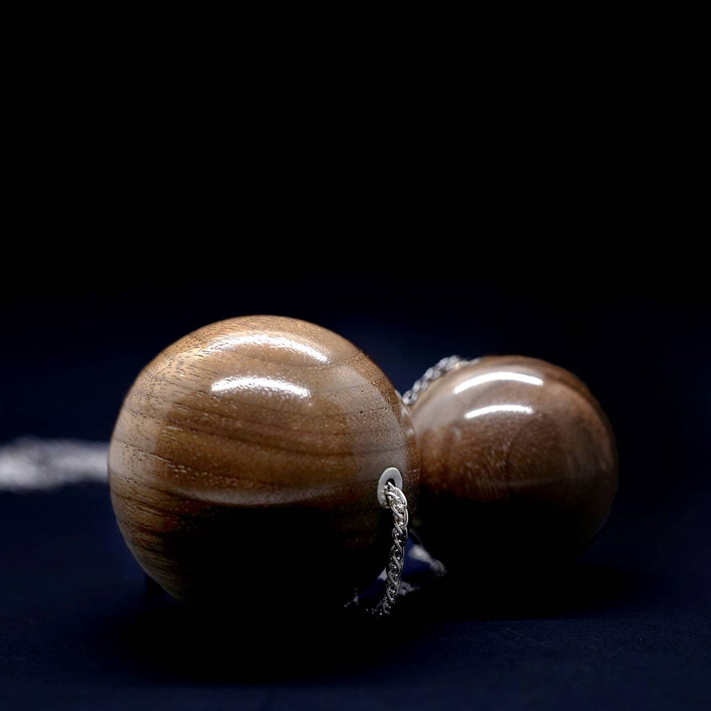 Large 40mm Wooden Bead Pendant on Long Silver Necklace - Silverwood Jewellery