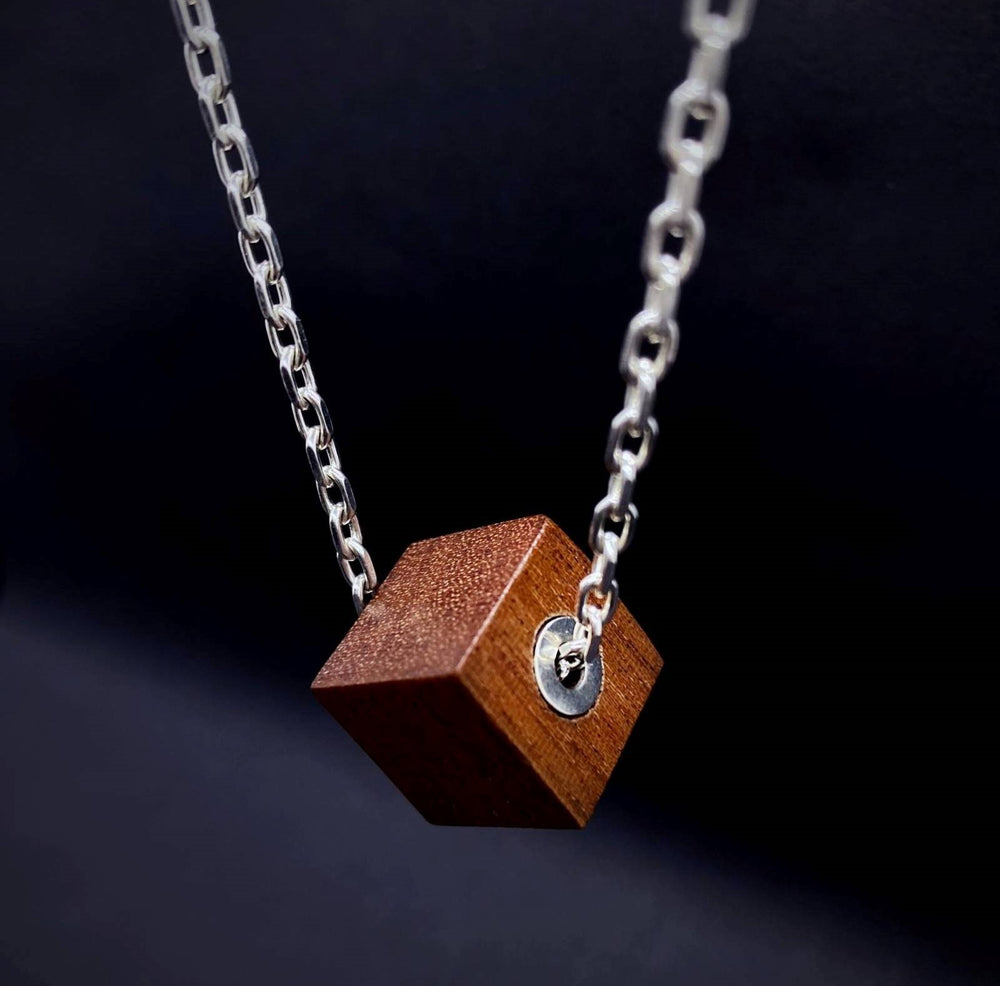 Wood and Silver Cube Pendant and Silver Chain Mens Necklace