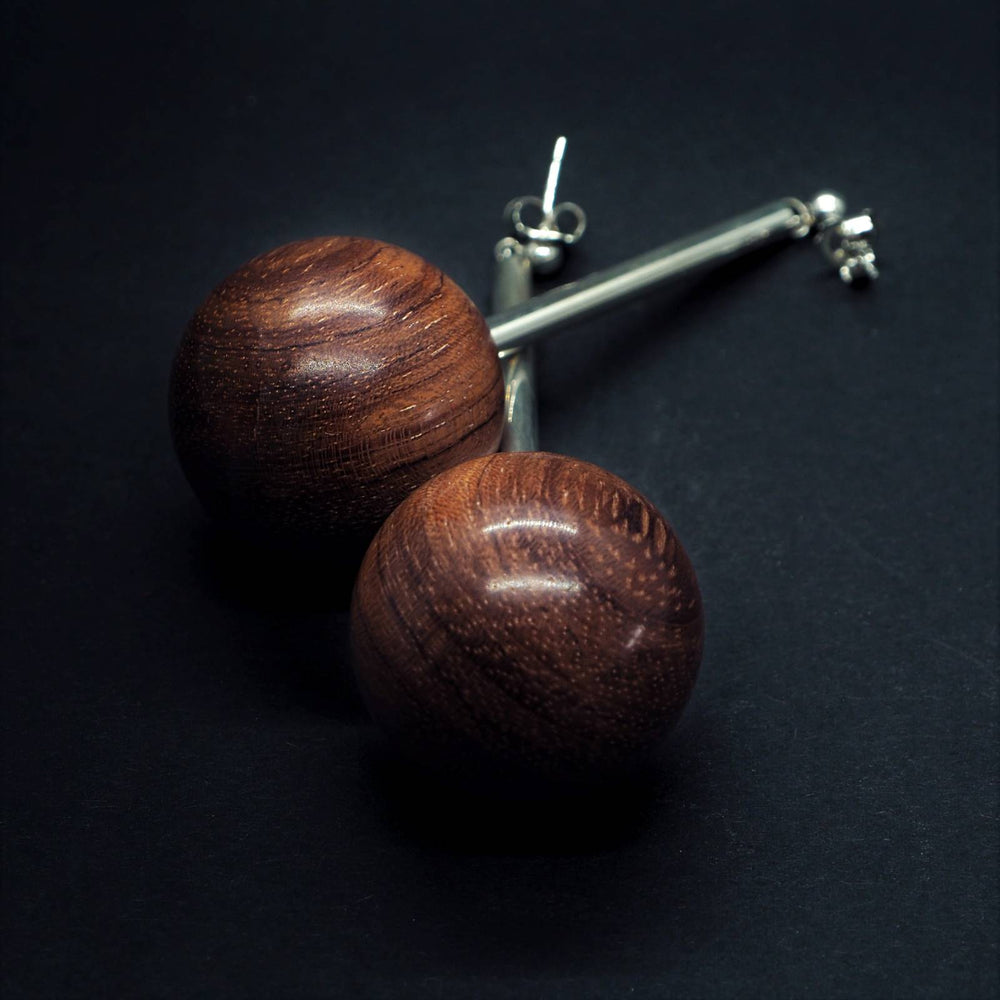 Large Wooden Bead and Silver Tube Long Earrings - Silverwood Jewellery