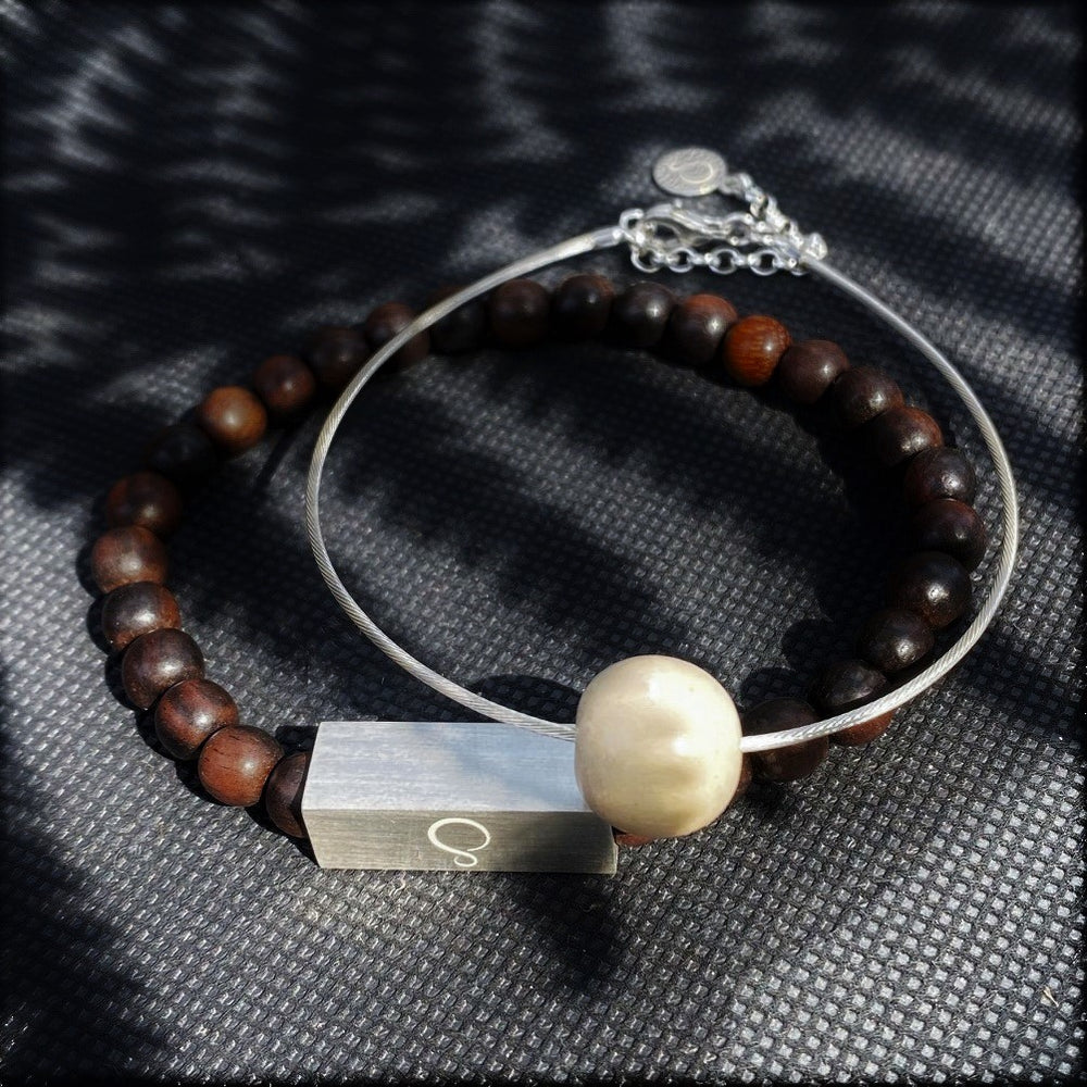 Lana Bead on Silver Cable Bracelet Unisex - Silverwood Jewellery
