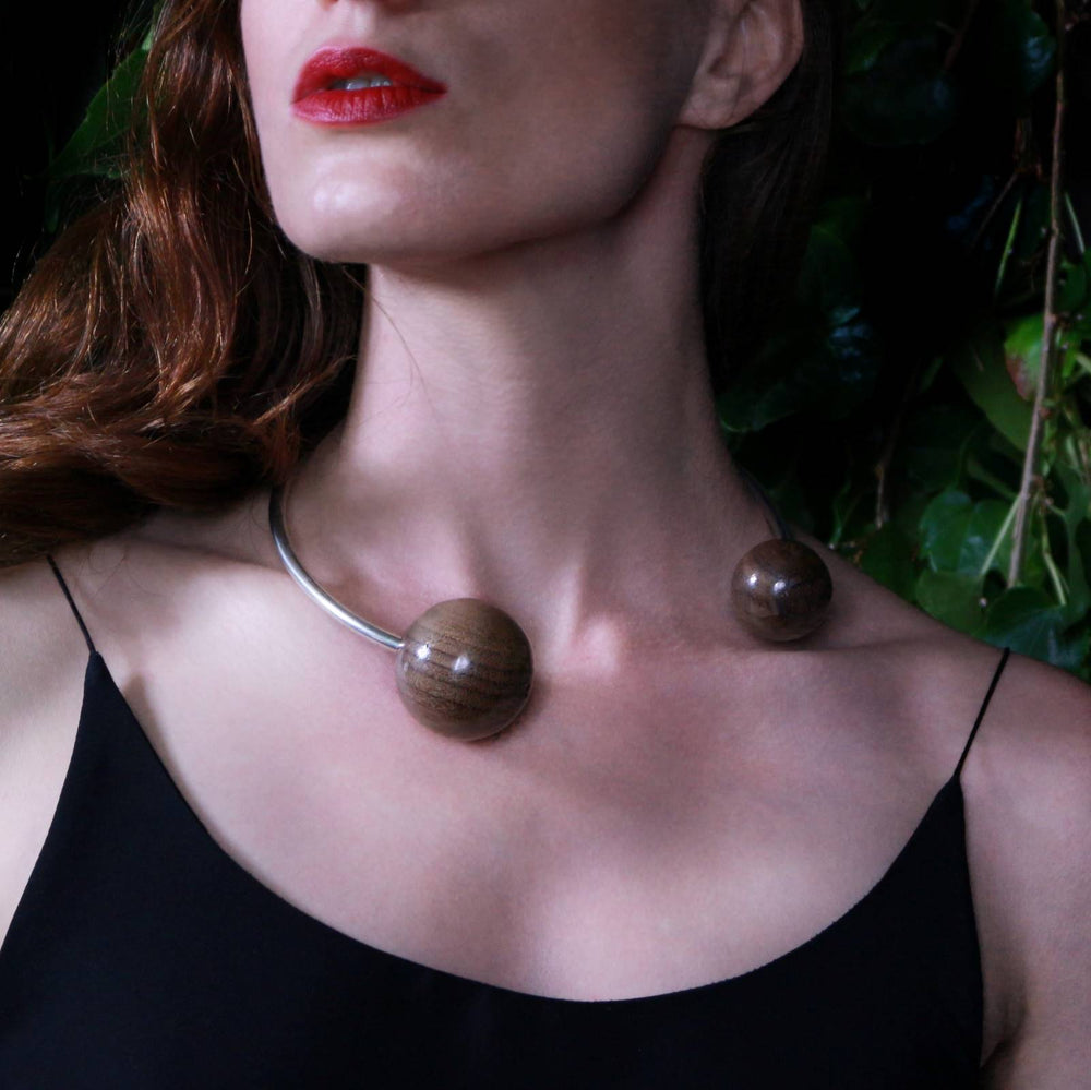 Large Double Wooden Sphere Torque Collar Necklace