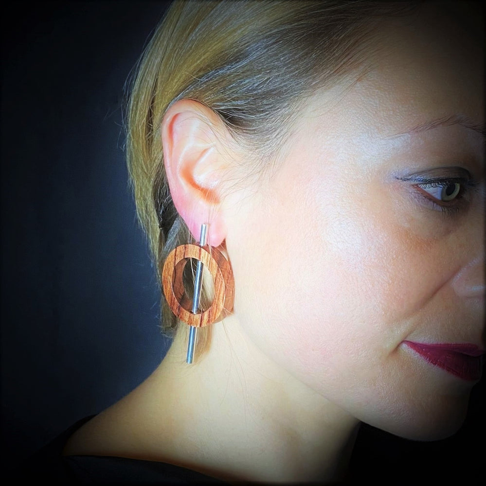 Small Wood Circle and Silver Tube Earrings - Silverwood Jewellery