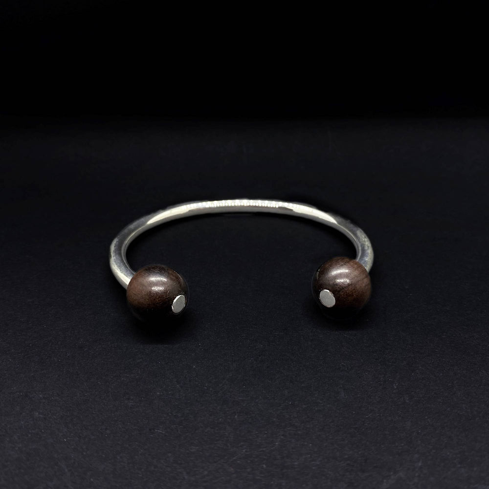 Brier Double Bead Torque Bangle - Silverwood Jewellery