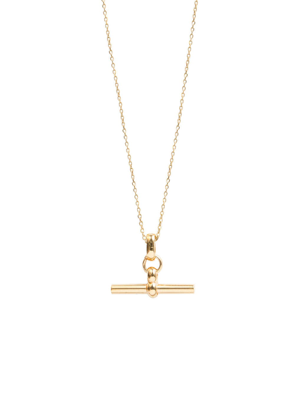 Small Gold T-bar Necklace by Tilly Sveaas