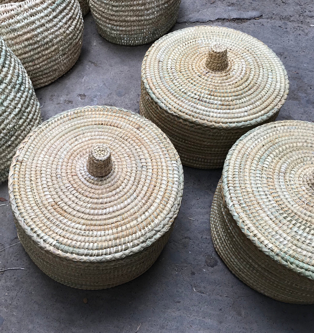 Large Raffia Basket with Lid