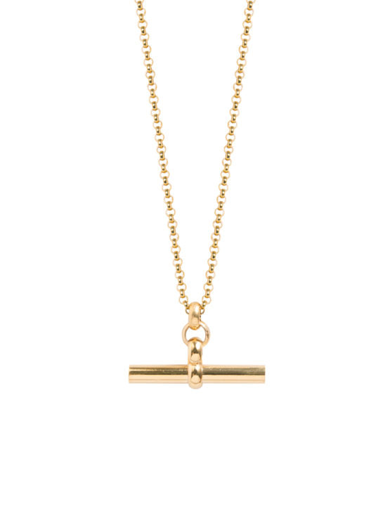 Medium Gold T-bar Necklace by Tilly Sveaas