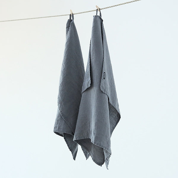 100% Linen Tea Towel in Steel Grey