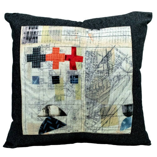 Black Denim + Urban Grunge Throw Pillow