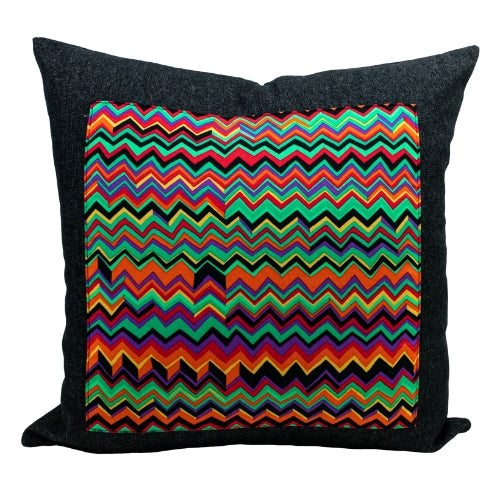 Black Denim + Urban Zigzags Throw Pillow