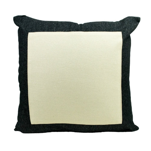 Black Denim + White Canvas Throw Pillow