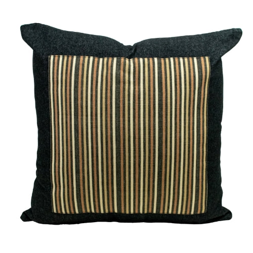 Black Denim + Forest Stripes Throw Pillow