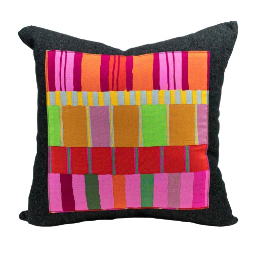 Black Denim + Urban Stripes Throw Pillow