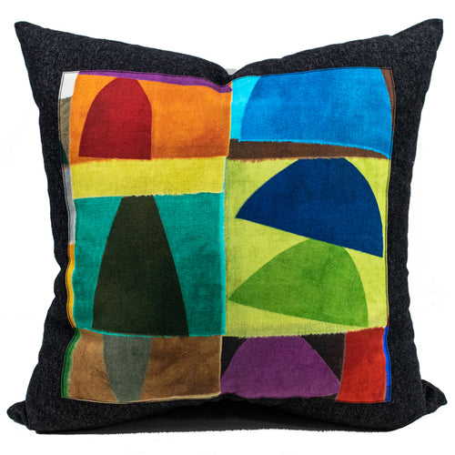 Black Denim + Urban Blocks Throw Pillow