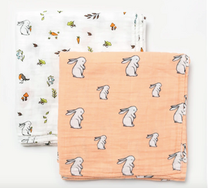 Organic muslin swaddle set - into the woods + long ear bunny (GR)