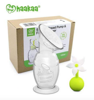 Haakaa 150ml Silicone Breast Pump & White Flower Stopper Giftset Box (GR)