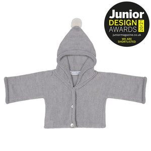 Anitas House Classic Merino Hoodie With Pom Grey Baby Clothing