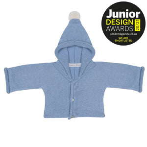 Anitas House Classic Merino Hoodie With Pom Pale Blue Baby Clothing