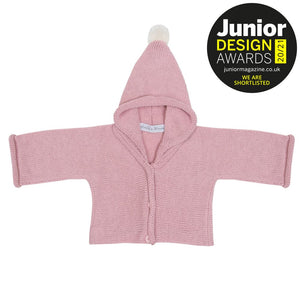 Anitas House Classic Merino Hoodie With Pom Soft Pink Baby Clothing