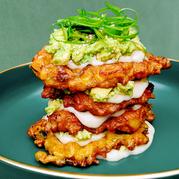 Dibble's Corn Fritters with Smashed Avo