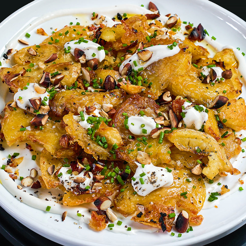 Crispy Smashed Potatoes With Dibble Sour Cream
