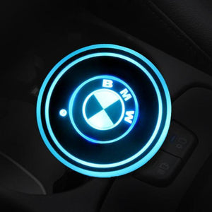 (Worldwide Free Shipping )7 Colors Led Changing USB Charging Car Logo Cup Lights up Holder