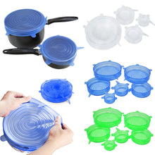 Load image into Gallery viewer, 6PCS/Set Universal Silicone Lids Stretch Suction Cover Cooking Pot Pan Spill Lid Stopper Home Bowl