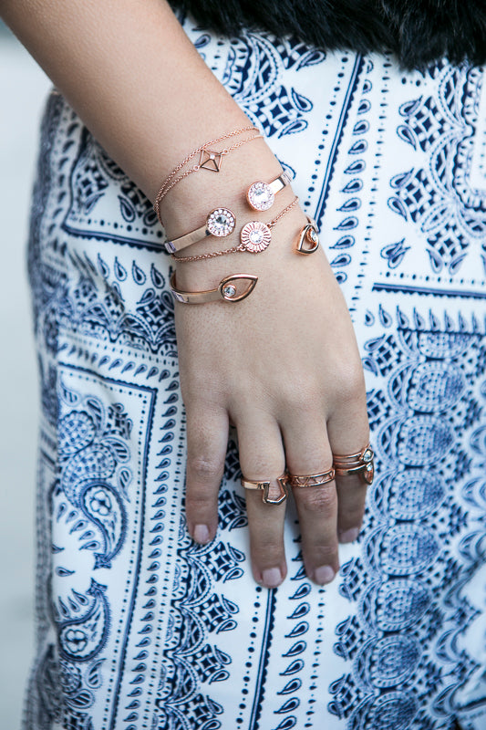 Light Up The Night Fine Bracelet Duo - Rose Gold