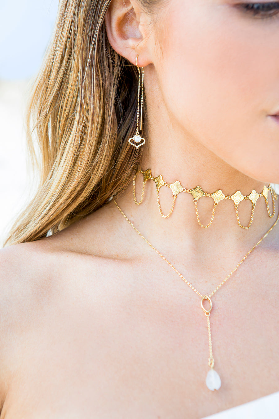 Meet Me In Marrakesh Ear Threads - Gold