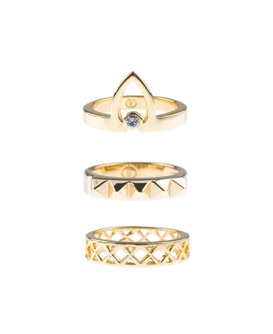 Canopy Of Stars Fine Ring Set - Gold