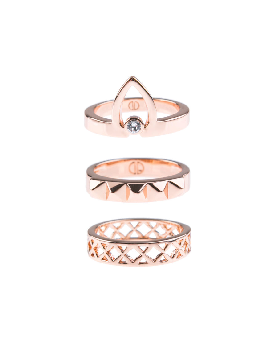 Canopy Of Stars Fine Ring Set - Rose Gold