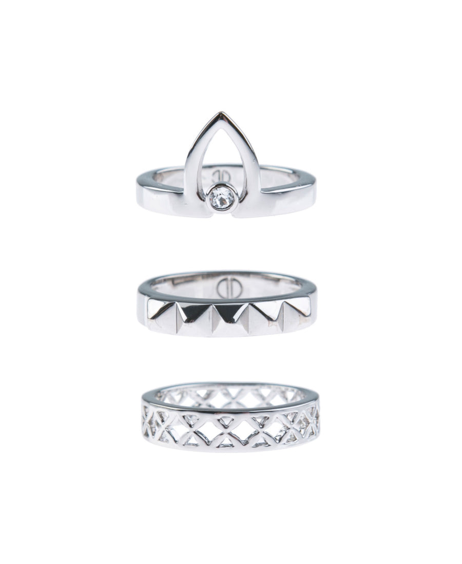 Canopy Of Stars Fine Ring Set - Silver